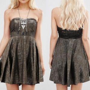 Free People Black Velvet Shatter Foil Party Dress